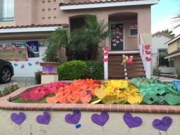Letters of love and support surrounding Kristyn's home